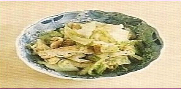 Simmered Cabbage and Deep-Fried Tofu キャベツと油揚げ煮