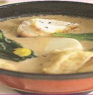 Sesame soup with Komatsuna