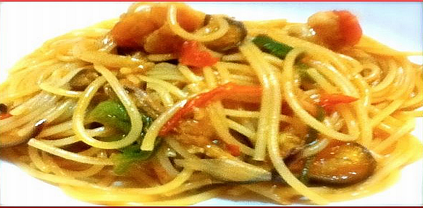 Spaghetti with Prawn and Vegetables