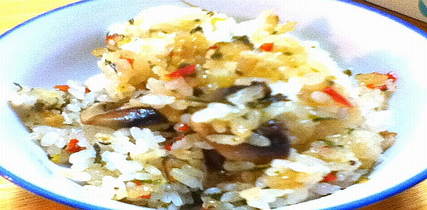 Sweet Rice with Bacon and Mushroom