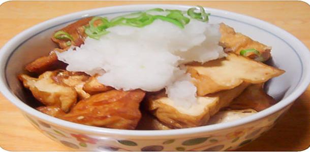 Simmered Deep-Fried Tofu and Mizuna-Kyoto Style(京風水菜と厚揚げの煮物)